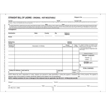 Straight Bill Of Lading   Short Form   Continuous, 3 Ply, Carbonless,  Printable Bill Of Lading Short Form
