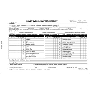 Canadian Driver's Vehicle Inspection Report, 2-Ply, Carbonless - Stock