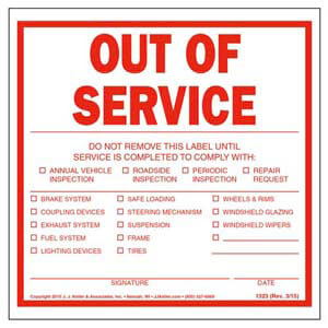 Out of Service Trailer Label