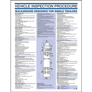 Vehicle Inspection Procedure Poster - Tractor Semi-Trailers, 8-1/2' x 11'