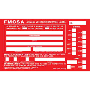 Annual Vehicle Inspection Reports and Labels