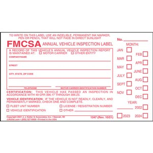 Annual Vehicle Inspection Label - Vinyl w/ Punch Boxes