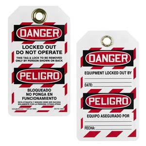 Bilingual Lockout/Tagout Tag - Danger Locked Out, Do Not Operate