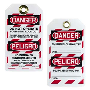 Bilingual Lockout/Tagout Tag - Danger Do Not Operate, Equipment Lockout