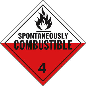 Division 4.2 Spontaneously Combustible Placard - Worded