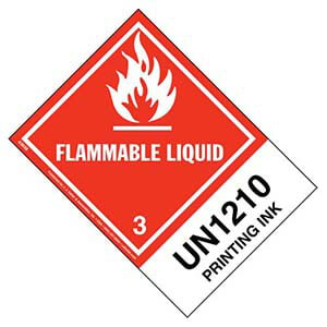 Numbered Panel Proper Shipping Name Labels - Class 3, Flammable Liquid - Printing Ink UN 1210