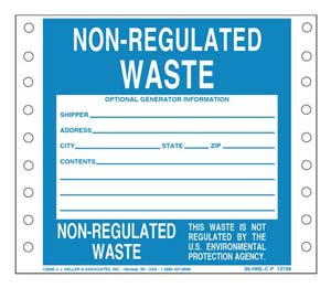 Non-Regulated Waste Label - Paper, Continuous Format