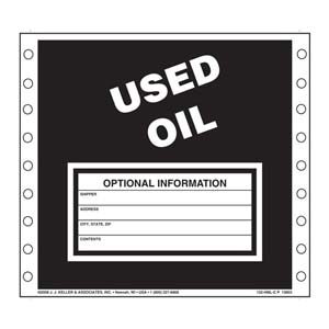 Used Oil Waste Labels