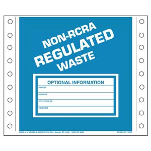 Non-RCRA Regulated Waste Labels - Vinyl