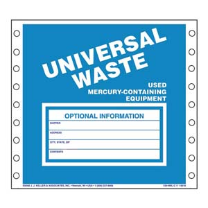 Universal Waste Labels, Used Mercury-Containing Equipment - Paper