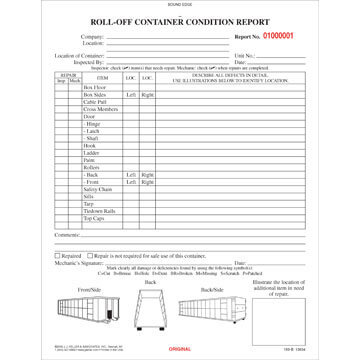 Roll-off Container Condition Report, Book Format - Stock