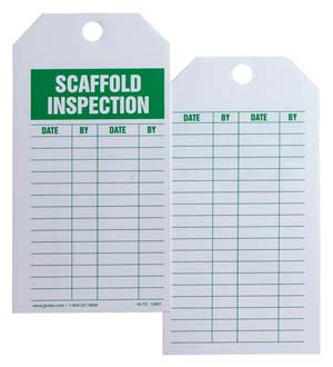 Safety Tag - Cardstock - Scaffold Inspection