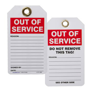 Safety Tag - Self-Laminating Plastic - Out of Service