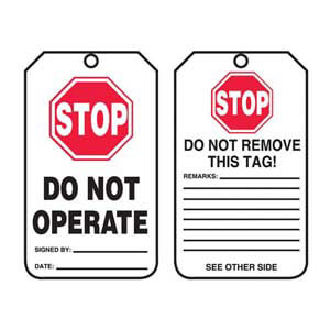 Safety Tag - Cardstock - Stop, Do Not Operate