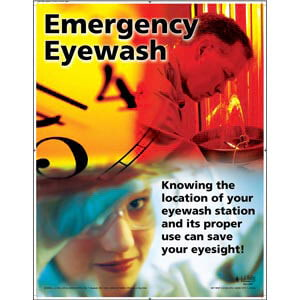 "Eye Protection - Workplace Safety Awareness Poster - ""Emergency Eyewash"""