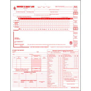 5-In-1 Driver's Daily Log, 2-Ply, Carbonless, Loose-Leaf Format - Personalized