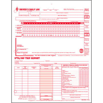 3-In-1 Driver's Daily Log, 3-Ply, Carbonless, Loose-Leaf Format - Personalized