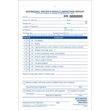 Intermodal Driver's Chassis Inspection Report - Pre-Trip, Snap-Out Format - Stock