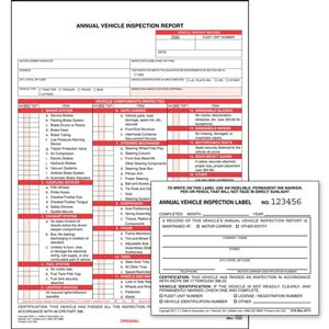 Annual Vehicle Inspection Report (Carbonless) + Label - Retail Packaging