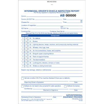Intermodal Driver's Chassis Inspection Report - Pre-Trip, Book Format - Stock