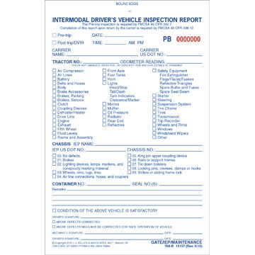 Intermodal Driver's Vehicle Inspection Report - Pre-Trip, Book Format - Stock