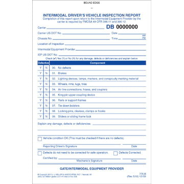 Intermodal Driver's Vehicle Inspection Report, Book Format - Stock