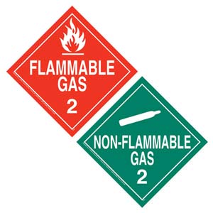 Division 2.2 Non-Flammable Gas, Division 2.1 Flammable Gas Placard - Worded