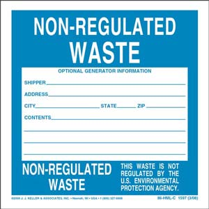 Non-Regulated Waste Label - Vinyl, Continuous Format
