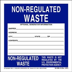 Non-Regulated Waste Label - Vinyl, Individual Sheets