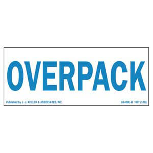 Overpack Package Marking - Paper, Blue Ink