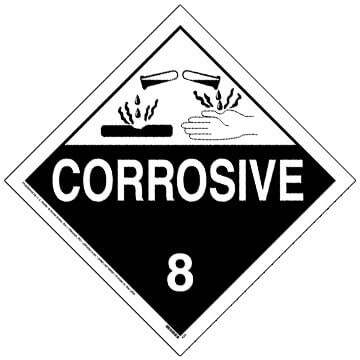 Class 8 Corrosive Placard - Worded