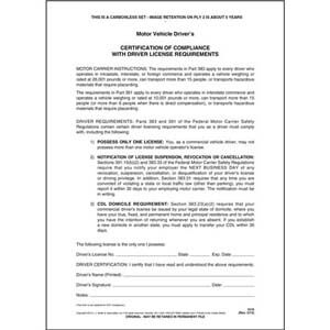 Driver's Certification of Compliance, 2-Ply