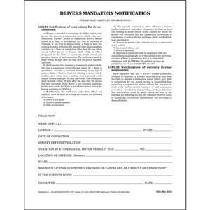 Driver's Mandatory Notification - Padded Format