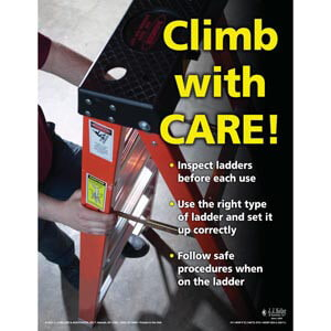 Ladder Safety - Workplace Safety Training Poster - 'Climb With Care'