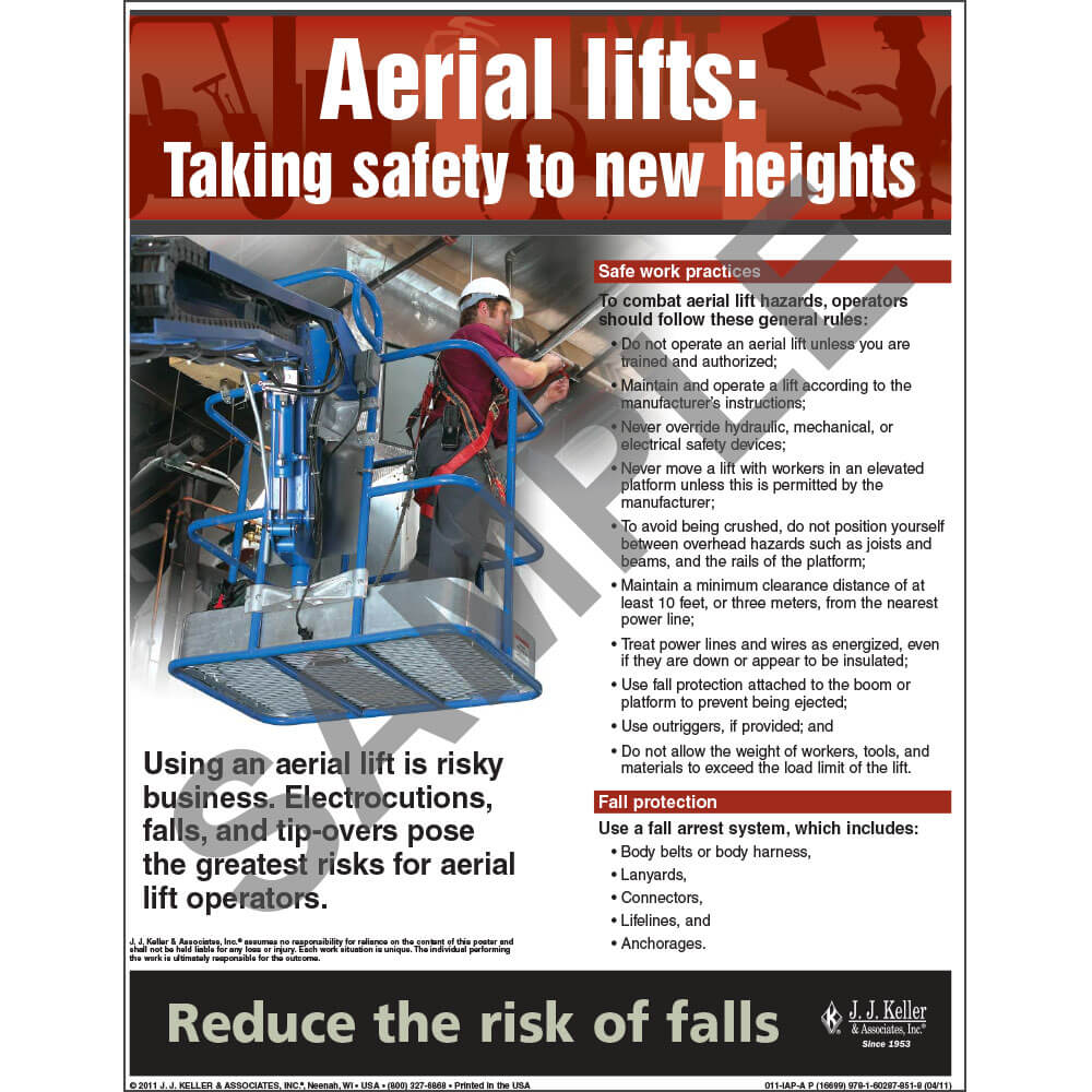 "Aerial Lifts - Workplace Safety Advisor Poster - ""Aerial Lifts: Taking Safety to New Heights"""