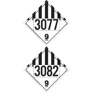 3077, 3082 Placard - Class 9 Miscellaneous
