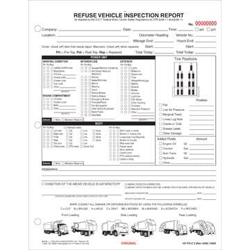 Refuse Truck Driver's Vehicle Inspection Report, Snap-Out Format - Personalized