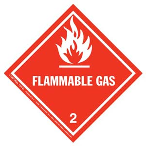 Hazardous Materials Labels - Class 2, Division 2.1 -- Flammable Gas, Poly