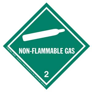 Hazardous Materials Labels - Class 2, Division 2.2 -- Non-Flammable Gas - Poly