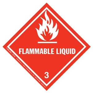 Hazardous Materials Labels - Class 3 -- Flammable Liquid - Poly