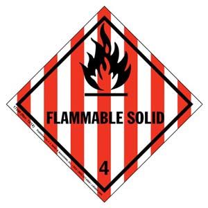 Hazardous Materials Labels - Class 4, Division 4.1 -- Flammable Solid - Poly