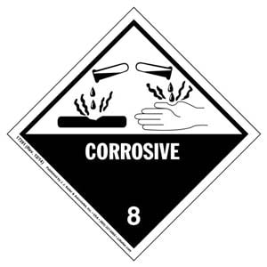 Hazardous Materials Labels - Class 8 -- Corrosive - Poly
