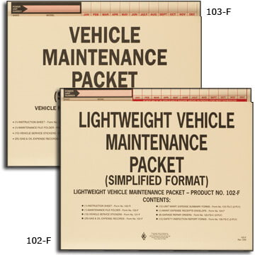 Vehicle Maintenance File Packets