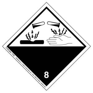 International Dangerous Goods Label - Class 8 -- Corrosive - Paper