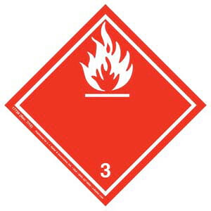International Dangerous Goods Label - Class 3 -- Fammable Liquid - Paper