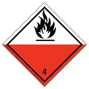 International Dangerous Goods Label - Class 4 -- Spontaneous Combustible - Paper