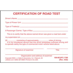 Certification of Road Test - Pocket Cards