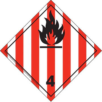 International Dangerous Goods Placard - Flammable Solid (Class 4), Tagboard