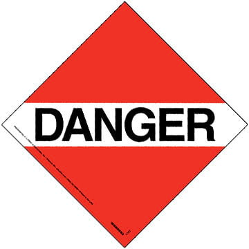 Canadian Danger Placard - Worded