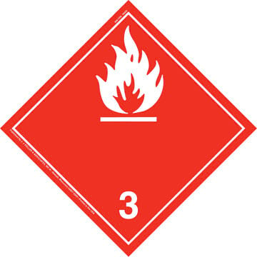 International Class 3 Flammable Liquid Placard - Wordless